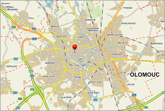 The city of Olomouc on the map