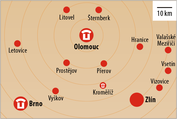 The city of Olomouc and its surroundings on the map