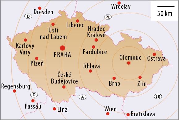 The City of Olomouc and the Czech Republic on the map