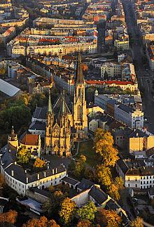 An aerial photo emphasizes the height of the rear tower of the St. Wenceslas Cathedral Near City Hall on the Upper Square you'll find a ...