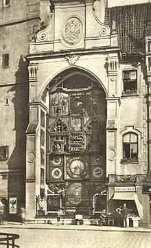 Earlier appearance of the OlomoucAstronomical Clock on a vintage photo, source: Archiv Vydavatelství MCU s.r.o.